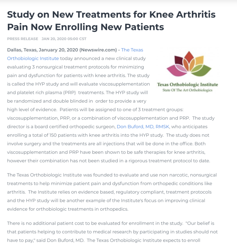 Press Release Announcing The HYP Knee Arthritis Study