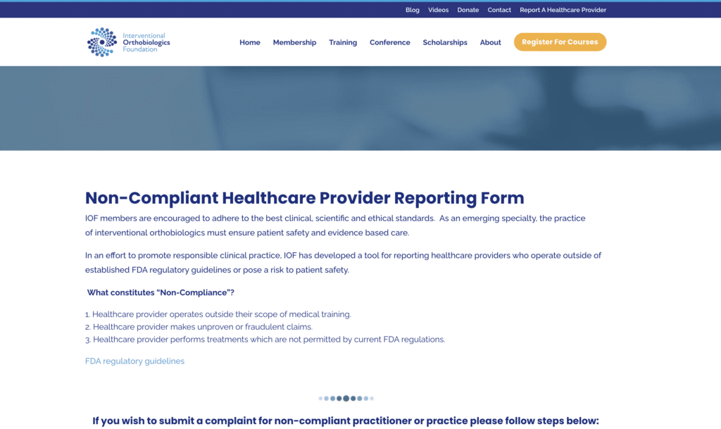 How to report Stem Cell and Regenerative Medicine scams