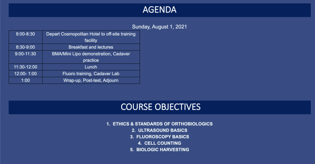 Live Orthobiologics and MSK Ultrasound Training Opportunity July 29-August 1, 2021 in Vegas!